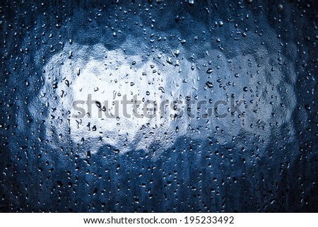 Water droplets on a transparent surface.