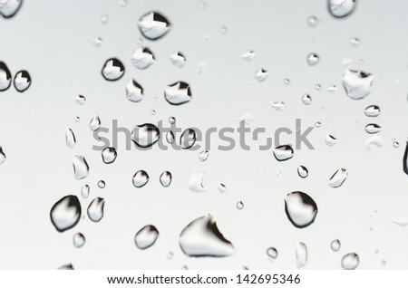 Water droplets on glass against white background - stock photo