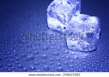 water drops and ice cubes - stock photo