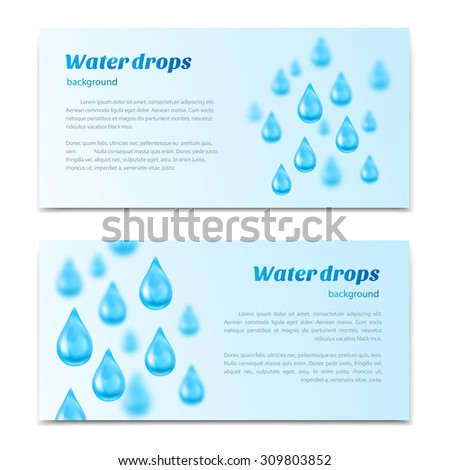 Water drops background. Banners, labels set mineral water, spring water, pure organic water. Rasterized Copy - stock photo