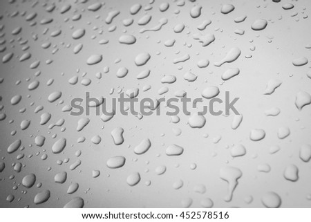 Water drops collect on top of metallic car surface - Rain drops - soft light tone - Black and White