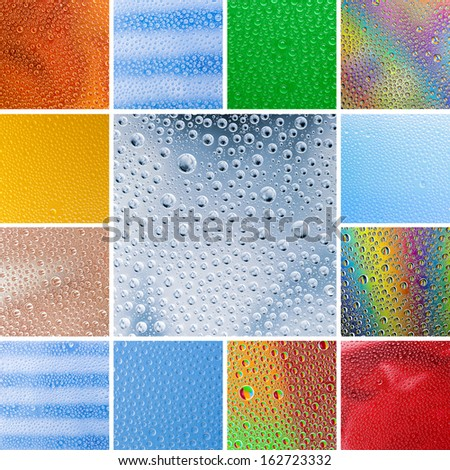 water drops colorful refraktion collage set gradient pattern stribes backgrounds in a set collage - stock photo