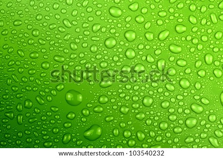 water drops green - stock photo