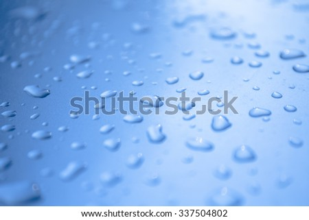 water drops in blue tone - stock photo