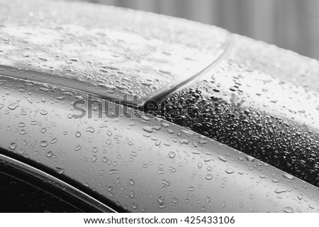 water drops on car after raining