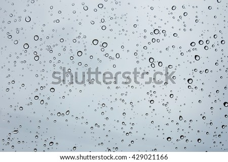 Water drops on car glass.