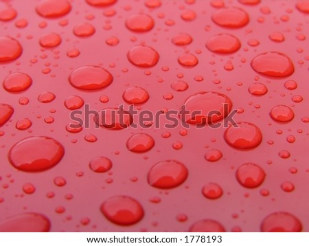 Water drops on clean car - stock photo