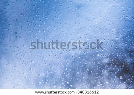 Water drops on glass. Blue
