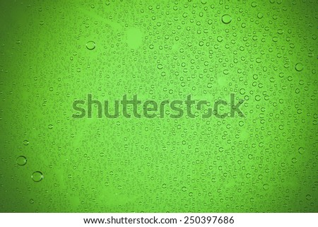 water drops on green background. - stock photo