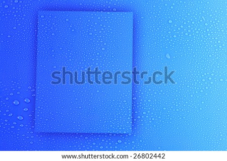 Water drops on light blue box designed  background