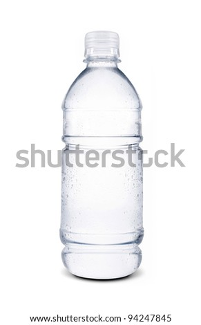water drops on small bottle of water - stock photo