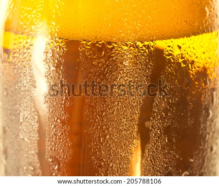 water drops on the bottle of beer. - stock photo