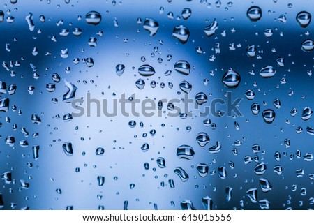 Water drops on the glass after rain