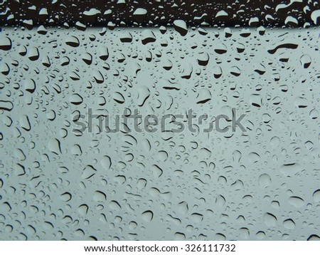 water drops on windshield.