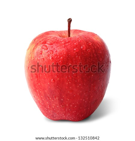 Water Drops Red Apple - stock photo