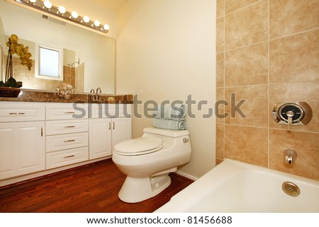 Water efficient toilet and modern bathroom.