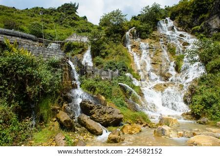 Water fall in Vietnam - stock photo