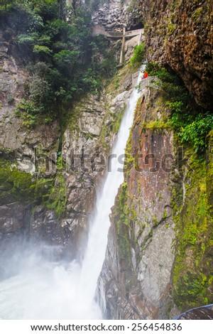 Water fall near Banos, Ecuador - stock photo