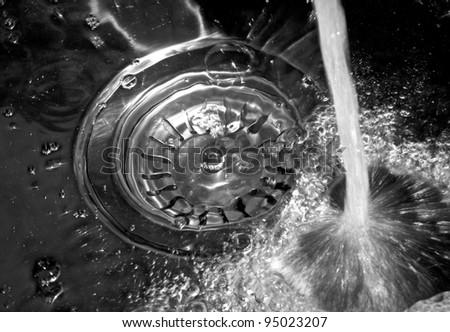 Water fallen in sink - stock photo