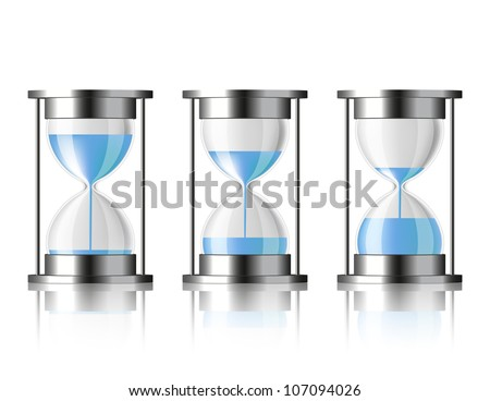 Water falling in the hourglass in three different states - stock photo
