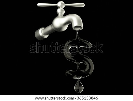 Water faucet with dollar shaped water drop. - stock photo