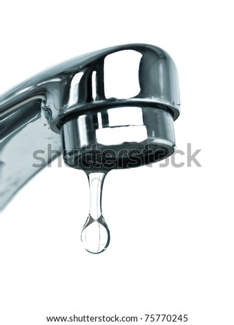 Water faucet with drop.