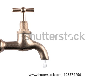 Water faucet with drop on white background - stock photo