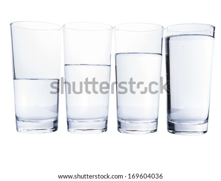 Water filled glasses over white background