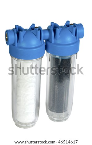water filter on white background - stock photo