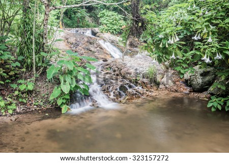 Water Flowing at Mae Kampong Waterfall, Thailand. - stock photo