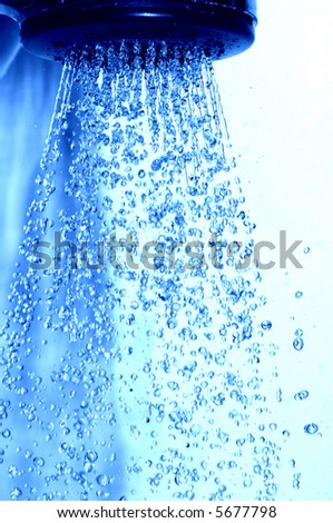 Water flowing in the shower - stock photo
