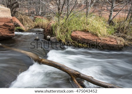 Water flowing on a small stream on the way from sedona arizona to Flagstaff