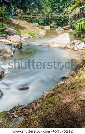 Water Flowing with Small Wooden Bridge in Thai Forest, Thailand.