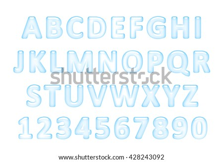 Water font. Alphabet of Water, Latin alphabet made of water. - stock photo