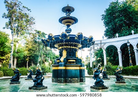 Water Fountain Marble Outdoor Fountains Gold Stock Photo 597980858 Shutterstock