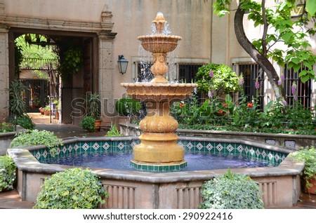 Water Fountain in court yard - stock photo