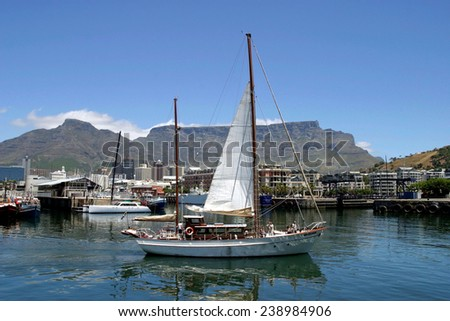 Water Front and table mountain in Cape Town - stock photo