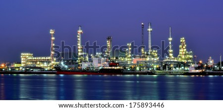 water front Oil and gas refinery plant - stock photo