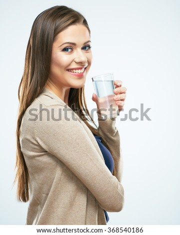 Water glass. Beautiful girl hold water. White background isolated. - stock photo