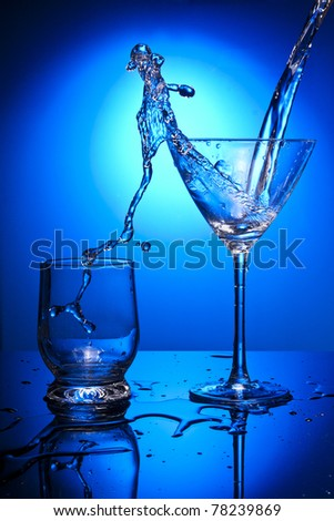 water glass blue object clean - stock photo