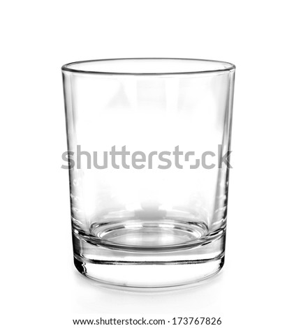Water glass, isolated on white  - stock photo