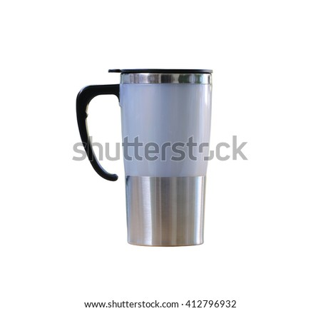 Water glass of aluminum (Aluminum mug) isolated on white background and have clipping paths. - stock photo