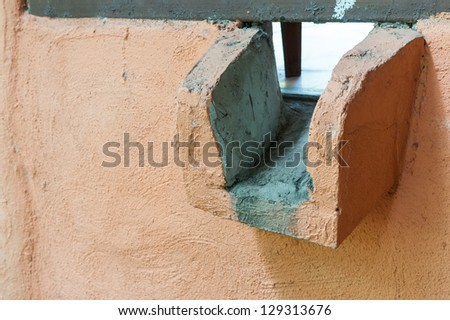 water gutter drainage for building terrace - stock photo