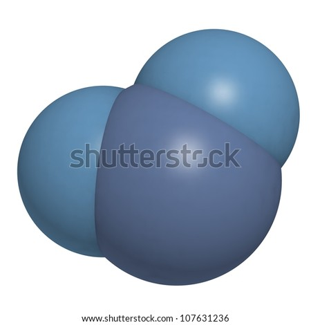 Water (H2O) molecule, chemical structure. Atoms represented as spheres, blue colored. - stock photo