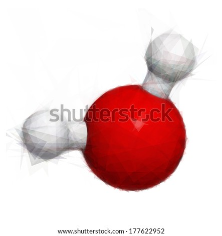Water (H2O) molecule, chemical structure. Stylized image. - stock photo