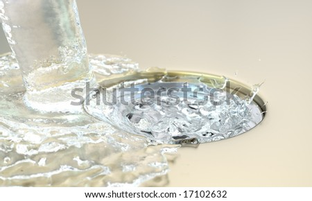 water in a sink - stock photo
