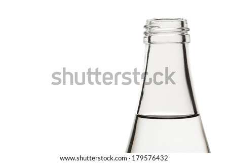 water in glass bottle isolated on white background - stock photo