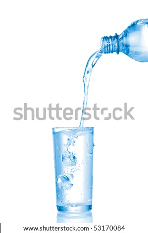 Water in glass isolated on white background