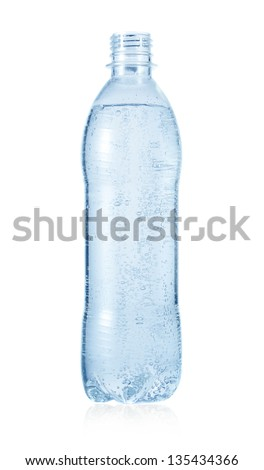 Water in opened bottle isolated on white - stock photo