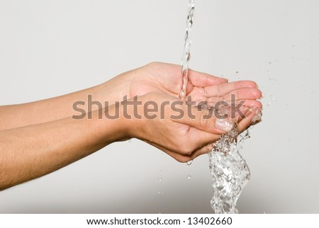 Water in palms of hands